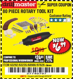 Harbor Freight Coupon 80 PIECE ROTARY TOOL KIT Lot No. 68986/97626/63292/63235 Expired: 8/20/18 - $6.99