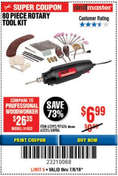 Harbor Freight Coupon 80 PIECE ROTARY TOOL KIT Lot No. 68986/97626/63292/63235 Expired: 7/8/18 - $6.99