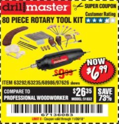 Harbor Freight Coupon 80 PIECE ROTARY TOOL KIT Lot No. 68986/97626/63292/63235 Expired: 11/30/18 - $6.99