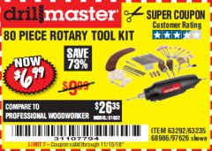 Harbor Freight Coupon 80 PIECE ROTARY TOOL KIT Lot No. 68986/97626/63292/63235 Expired: 11/15/18 - $6.99
