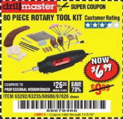 Harbor Freight Coupon 80 PIECE ROTARY TOOL KIT Lot No. 68986/97626/63292/63235 Expired: 11/3/18 - $6.99