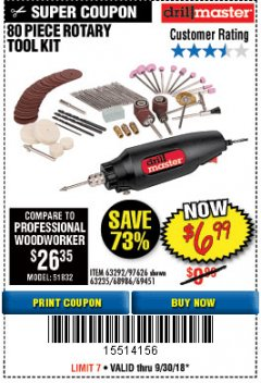 Harbor Freight Coupon 80 PIECE ROTARY TOOL KIT Lot No. 68986/97626/63292/63235 Expired: 9/30/18 - $6.99