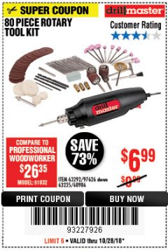 Harbor Freight Coupon 80 PIECE ROTARY TOOL KIT Lot No. 68986/97626/63292/63235 Expired: 10/28/18 - $6.99