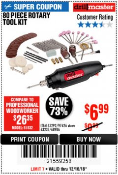 Harbor Freight Coupon 80 PIECE ROTARY TOOL KIT Lot No. 68986/97626/63292/63235 Expired: 12/16/18 - $6.99