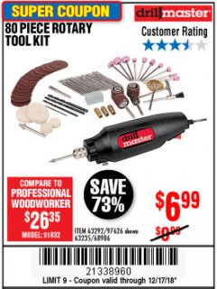 Harbor Freight Coupon 80 PIECE ROTARY TOOL KIT Lot No. 68986/97626/63292/63235 Expired: 12/17/18 - $6.99