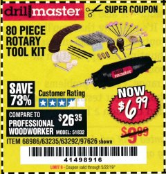Harbor Freight Coupon 80 PIECE ROTARY TOOL KIT Lot No. 68986/97626/63292/63235 Expired: 5/22/19 - $6.99