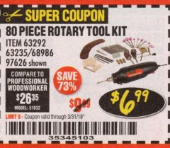 Harbor Freight Coupon 80 PIECE ROTARY TOOL KIT Lot No. 68986/97626/63292/63235 Expired: 3/31/19 - $6.99