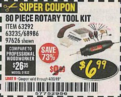 Harbor Freight Coupon 80 PIECE ROTARY TOOL KIT Lot No. 68986/97626/63292/63235 Expired: 4/30/19 - $6.99