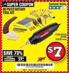 Harbor Freight Coupon 80 PIECE ROTARY TOOL KIT Lot No. 68986/97626/63292/63235 Expired: 6/1/19 - $7