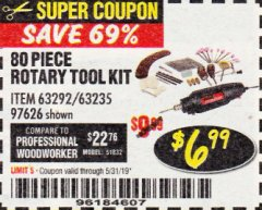Harbor Freight Coupon 80 PIECE ROTARY TOOL KIT Lot No. 68986/97626/63292/63235 Expired: 5/31/19 - $6.99