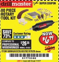 Harbor Freight Coupon 80 PIECE ROTARY TOOL KIT Lot No. 68986/97626/63292/63235 Expired: 7/19/19 - $6.99