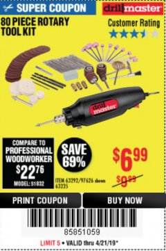 Harbor Freight Coupon 80 PIECE ROTARY TOOL KIT Lot No. 68986/97626/63292/63235 Expired: 4/21/19 - $6.99