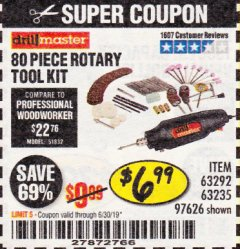 Harbor Freight Coupon 80 PIECE ROTARY TOOL KIT Lot No. 68986/97626/63292/63235 Expired: 6/30/19 - $6.99
