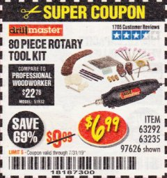 Harbor Freight Coupon 80 PIECE ROTARY TOOL KIT Lot No. 68986/97626/63292/63235 Expired: 7/31/19 - $6.99
