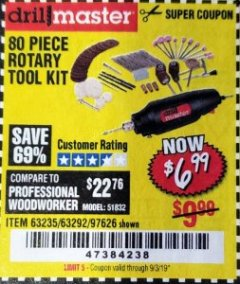 Harbor Freight Coupon 80 PIECE ROTARY TOOL KIT Lot No. 68986/97626/63292/63235 Expired: 9/3/19 - $6.99
