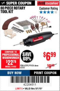Harbor Freight Coupon 80 PIECE ROTARY TOOL KIT Lot No. 68986/97626/63292/63235 Expired: 9/1/19 - $6.99