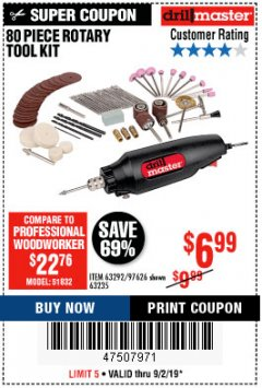 Harbor Freight Coupon 80 PIECE ROTARY TOOL KIT Lot No. 68986/97626/63292/63235 Expired: 9/2/19 - $6.99