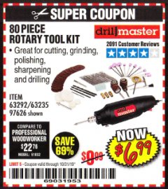 Harbor Freight Coupon 80 PIECE ROTARY TOOL KIT Lot No. 68986/97626/63292/63235 Expired: 10/31/19 - $6.99