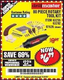 Harbor Freight Coupon 80 PIECE ROTARY TOOL KIT Lot No. 68986/97626/63292/63235 Expired: 11/9/19 - $6.99