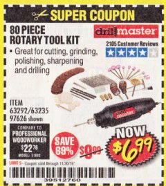 Harbor Freight Coupon 80 PIECE ROTARY TOOL KIT Lot No. 68986/97626/63292/63235 Expired: 11/30/19 - $6.99