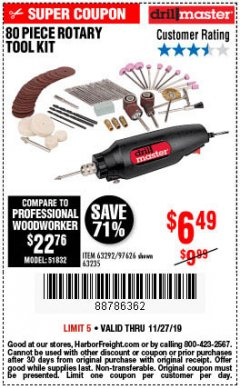 Harbor Freight Coupon 80 PIECE ROTARY TOOL KIT Lot No. 68986/97626/63292/63235 Expired: 11/27/19 - $6.49