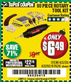 Harbor Freight Coupon 80 PIECE ROTARY TOOL KIT Lot No. 68986/97626/63292/63235 Expired: 2/15/20 - $6.49