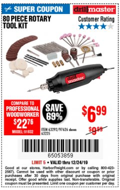 Harbor Freight Coupon 80 PIECE ROTARY TOOL KIT Lot No. 68986/97626/63292/63235 Expired: 12/24/19 - $6.99