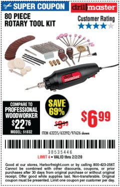 Harbor Freight Coupon 80 PIECE ROTARY TOOL KIT Lot No. 68986/97626/63292/63235 Expired: 2/2/20 - $6.99