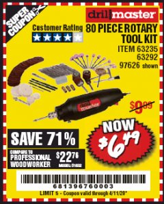 Harbor Freight Coupon 80 PIECE ROTARY TOOL KIT Lot No. 68986/97626/63292/63235 Valid: 2/4/20 - 4/11/20 - $6.49