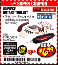 Harbor Freight Coupon 80 PIECE ROTARY TOOL KIT Lot No. 68986/97626/63292/63235 Valid Thru: 3/31/20 - $6.99