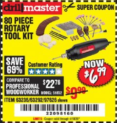 Harbor Freight Coupon 80 PIECE ROTARY TOOL KIT Lot No. 68986/97626/63292/63235 Valid Thru: 4/18/20 - $6.99