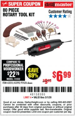 Harbor Freight Coupon 80 PIECE ROTARY TOOL KIT Lot No. 68986/97626/63292/63235 Expired: 3/1/20 - $6.99