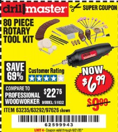 Harbor Freight Coupon 80 PIECE ROTARY TOOL KIT Lot No. 68986/97626/63292/63235 Expired: 6/21/20 - $6.99