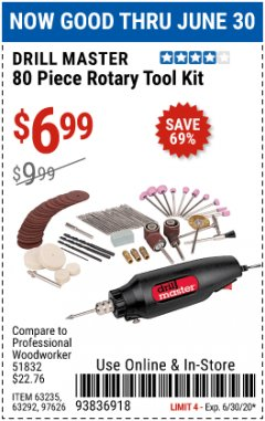 Harbor Freight Coupon 80 PIECE ROTARY TOOL KIT Lot No. 68986/97626/63292/63235 Expired: 6/30/20 - $6.99