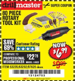 Harbor Freight Coupon 80 PIECE ROTARY TOOL KIT Lot No. 68986/97626/63292/63235 Expired: 7/2/20 - $6.99