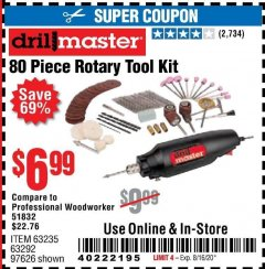 Harbor Freight Coupon 80 PIECE ROTARY TOOL KIT Lot No. 68986/97626/63292/63235 Expired: 8/16/20 - $6.99