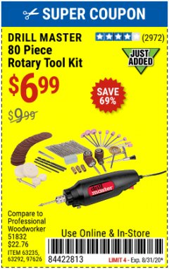 Harbor Freight Coupon 80 PIECE ROTARY TOOL KIT Lot No. 68986/97626/63292/63235 Expired: 8/31/20 - $6.99