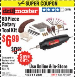 Harbor Freight Coupon 80 PIECE ROTARY TOOL KIT Lot No. 68986/97626/63292/63235 Expired: 10/13/20 - $6.99