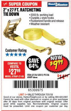 "Harbor Freight Coupon 2"" x 27 FT. RATCHETING TIE DOWN Lot No. 60689/62134/95106 Expired: 7/31/18 - $9.99"