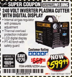 Harbor Freight Coupon 240 VOLT INVERTER PLASMA CUTTER WITH DIGITAL DISPLAY Lot No. 64808 Expired: 11/30/18 - $599.99