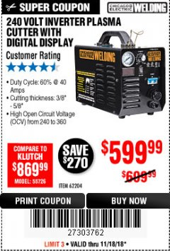 Harbor Freight Coupon 240 VOLT INVERTER PLASMA CUTTER WITH DIGITAL DISPLAY Lot No. 64808 Expired: 11/18/18 - $599.99