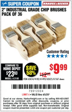 "Harbor Freight Coupon 2"" INDUSTRIAL GRADE CHIP BRUSHES, PACK OF 36 Lot No. 62625/61493/61567 EXPIRES: 6/30/20 - $9.99"
