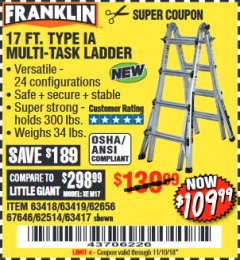 Harbor Freight Coupon 17 FT. TYPE 1A MULTI-TASK LADDER Lot No. 67646/62656/62514/63418/63419/63417 Expired: 11/10/18 - $109.99