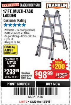 Harbor Freight Coupon 17 FT. TYPE 1A MULTI-TASK LADDER Lot No. 67646/62656/62514/63418/63419/63417 Expired: 12/2/18 - $98.99
