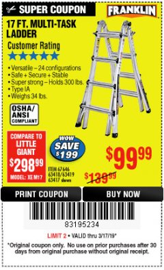 Harbor Freight Coupon 17 FT. TYPE 1A MULTI-TASK LADDER Lot No. 67646/62656/62514/63418/63419/63417 Expired: 3/17/19 - $99.99