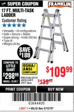 Harbor Freight Coupon 17 FT. TYPE 1A MULTI-TASK LADDER Lot No. 67646/62656/62514/63418/63419/63417 Expired: 5/12/19 - $109.99