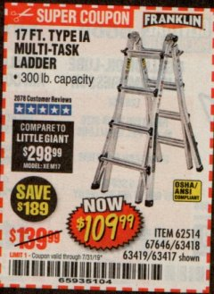 Harbor Freight Coupon 17 FT. TYPE 1A MULTI-TASK LADDER Lot No. 67646/62656/62514/63418/63419/63417 Expired: 7/31/19 - $109.99