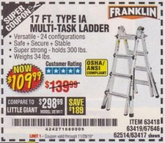Harbor Freight Coupon 17 FT. TYPE 1A MULTI-TASK LADDER Lot No. 67646/62656/62514/63418/63419/63417 Expired: 11/28/19 - $109.99