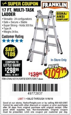 Harbor Freight Coupon 17 FT. TYPE 1A MULTI-TASK LADDER Lot No. 67646/62656/62514/63418/63419/63417 Expired: 11/16/19 - $109.99