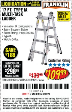 Harbor Freight Coupon 17 FT. TYPE 1A MULTI-TASK LADDER Lot No. 67646/62656/62514/63418/63419/63417 Expired: 3/31/20 - $109.99
